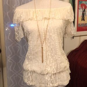 Style&Co. White lace off the shoulder top